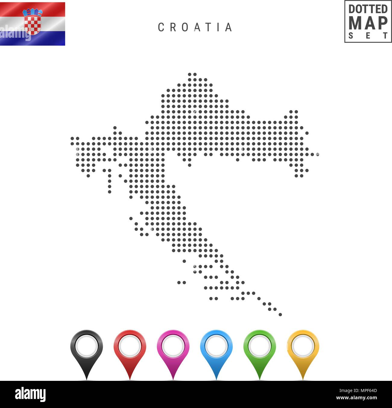 Vector Dotted Map of Croatia. Simple Silhouette of Croatia. National Flag of Croatia. Set of Multicolored Map Markers - Stock Image
