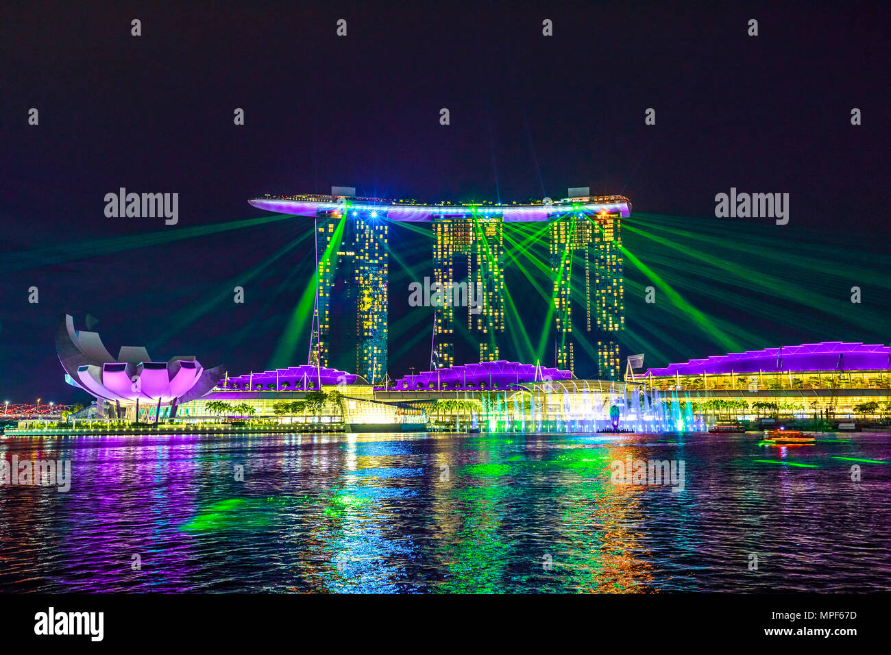 singapore april 27 2018 great laser show at night time at marina