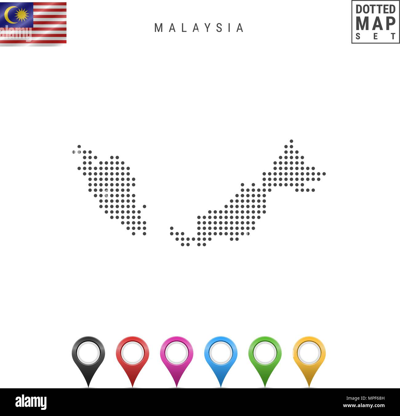 Vector Dotted Map of Malaysia. Simple Silhouette of Malaysia. National Flag of Malaysia. Set of Multicolored Map Markers - Stock Image