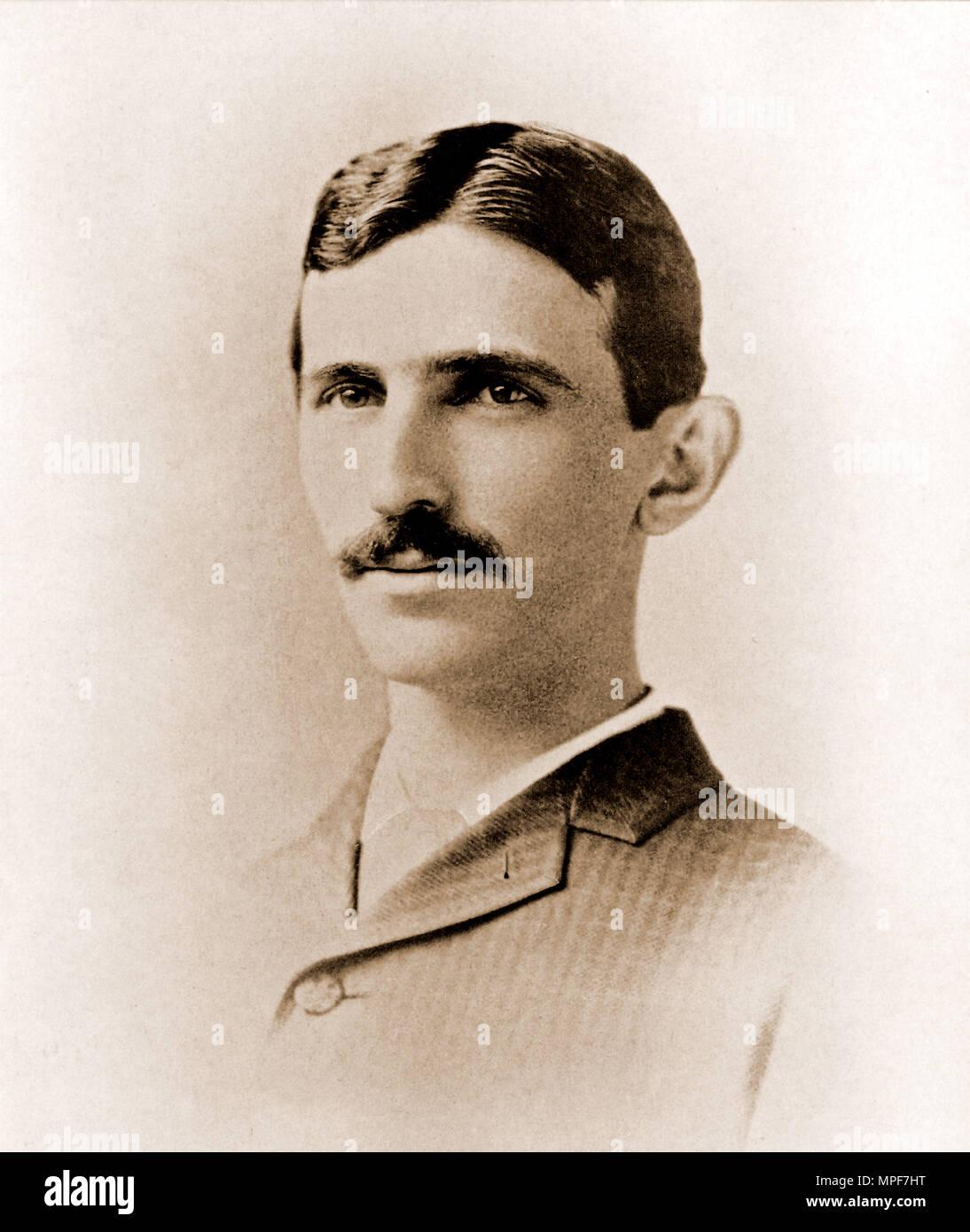 Portrait of young Nicola Tesla - Stock Image