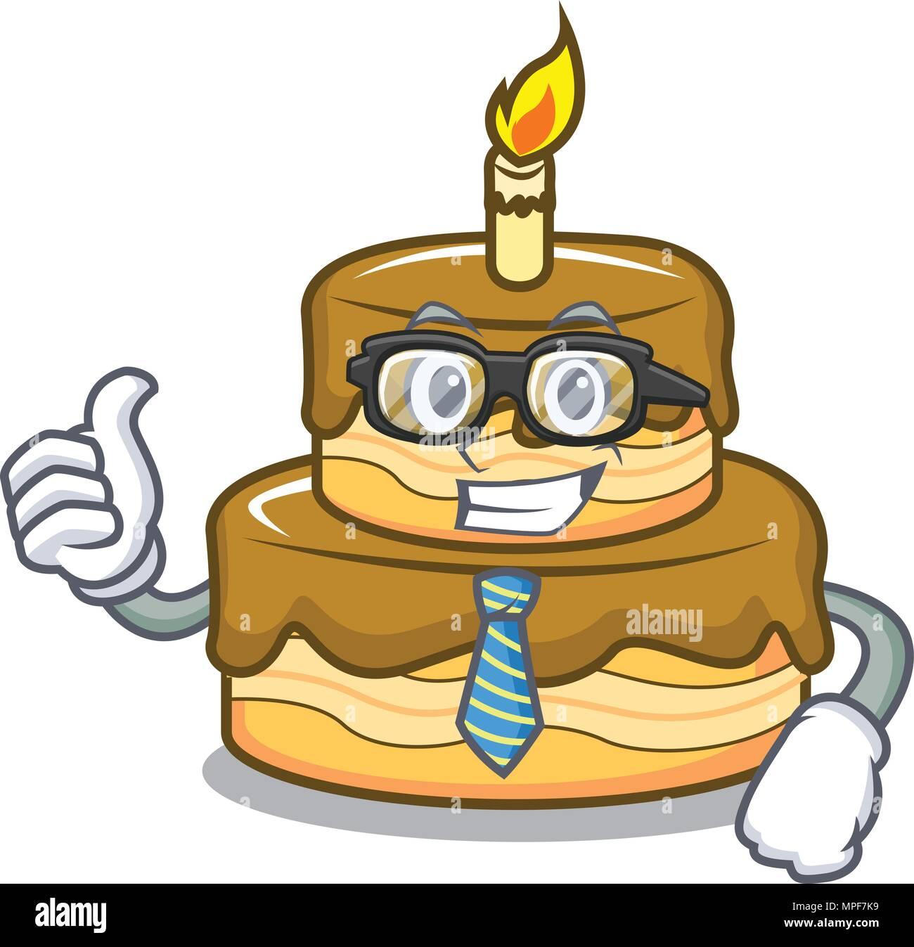Businessman Birthday Cake Character Cartoon Vector Illustration