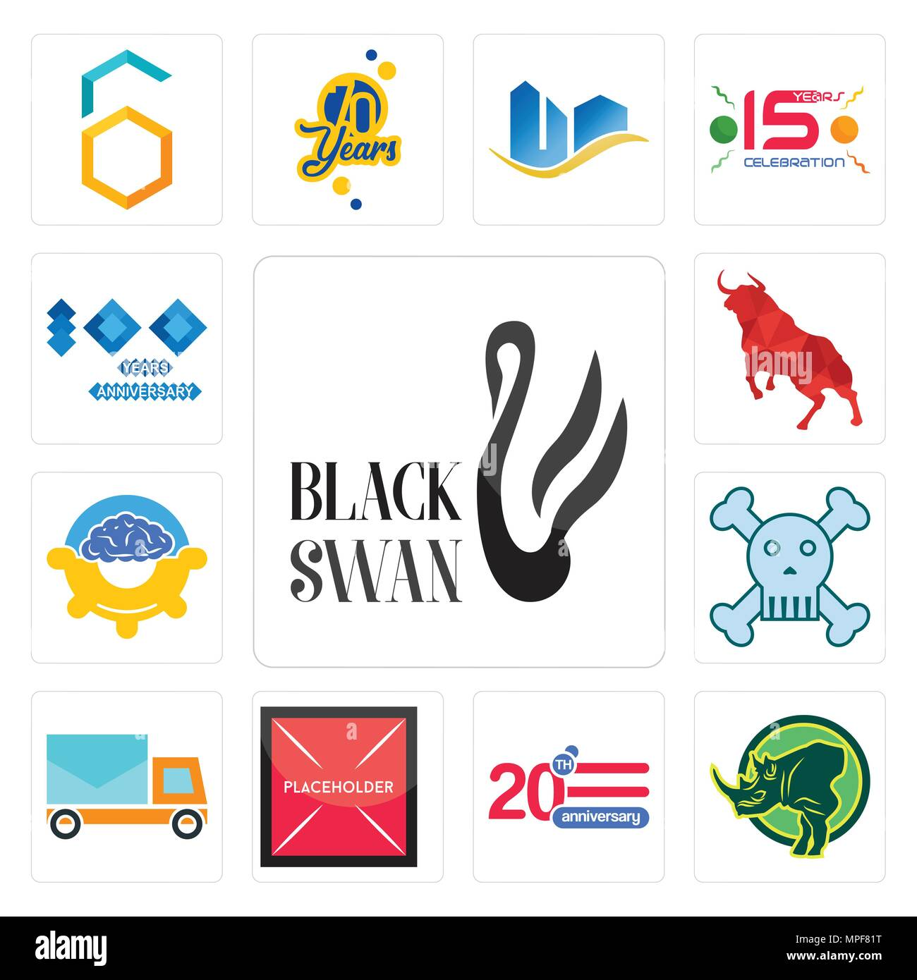 Set Of 13 simple editable icons such as black swan, rhino, 20 anniversary, placeholder, post car, skull and crossbones, program management, bull, 100  - Stock Vector