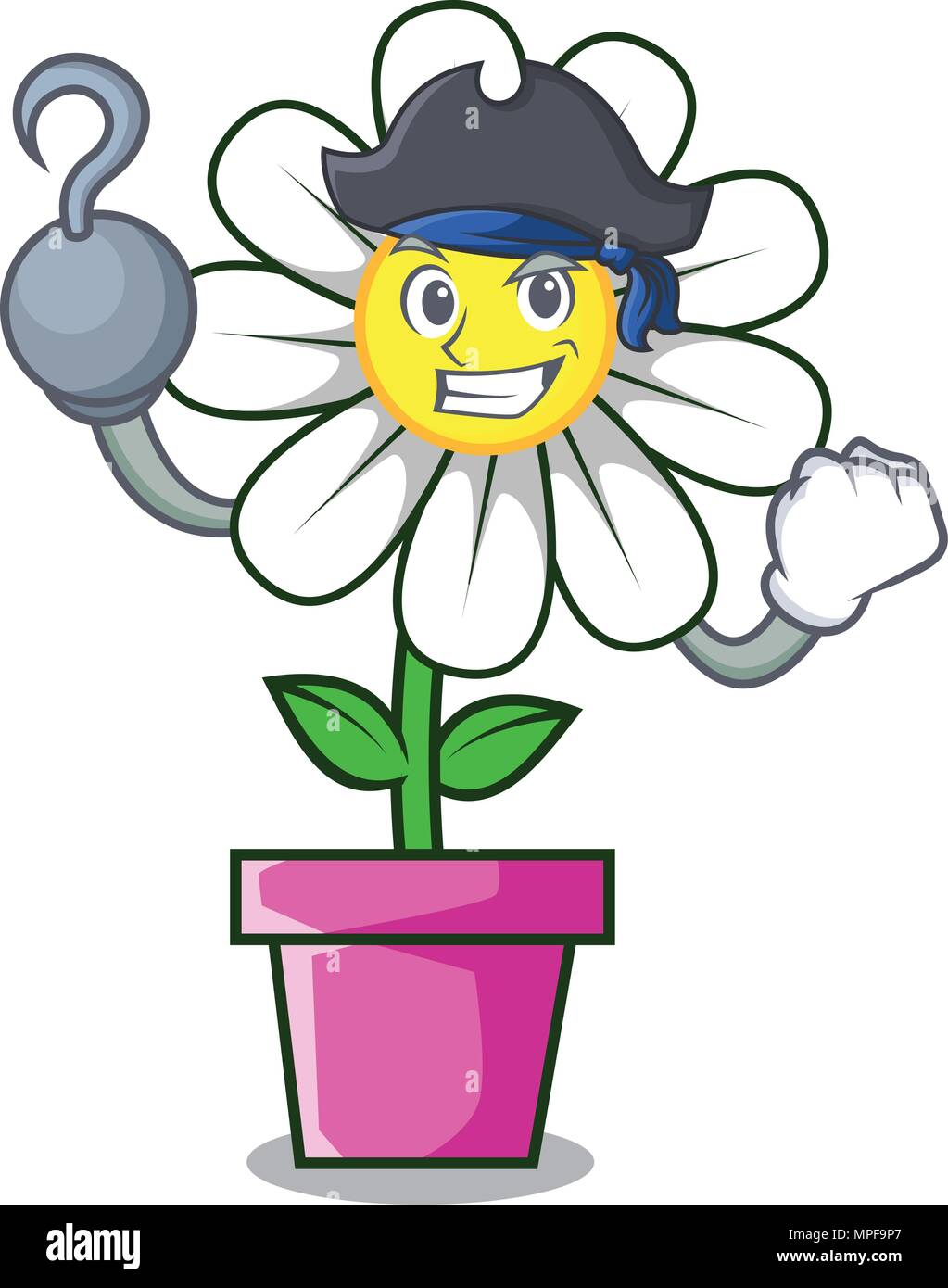 Pirate Daisy Flower Character Cartoon Stock Vector Art