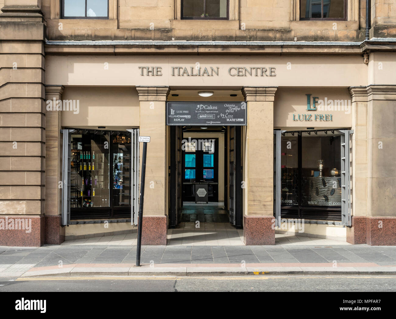 Facade and entrance to The Italian Centre  in the Merchant City area of Glasgow, Scotland, UK - Stock Image