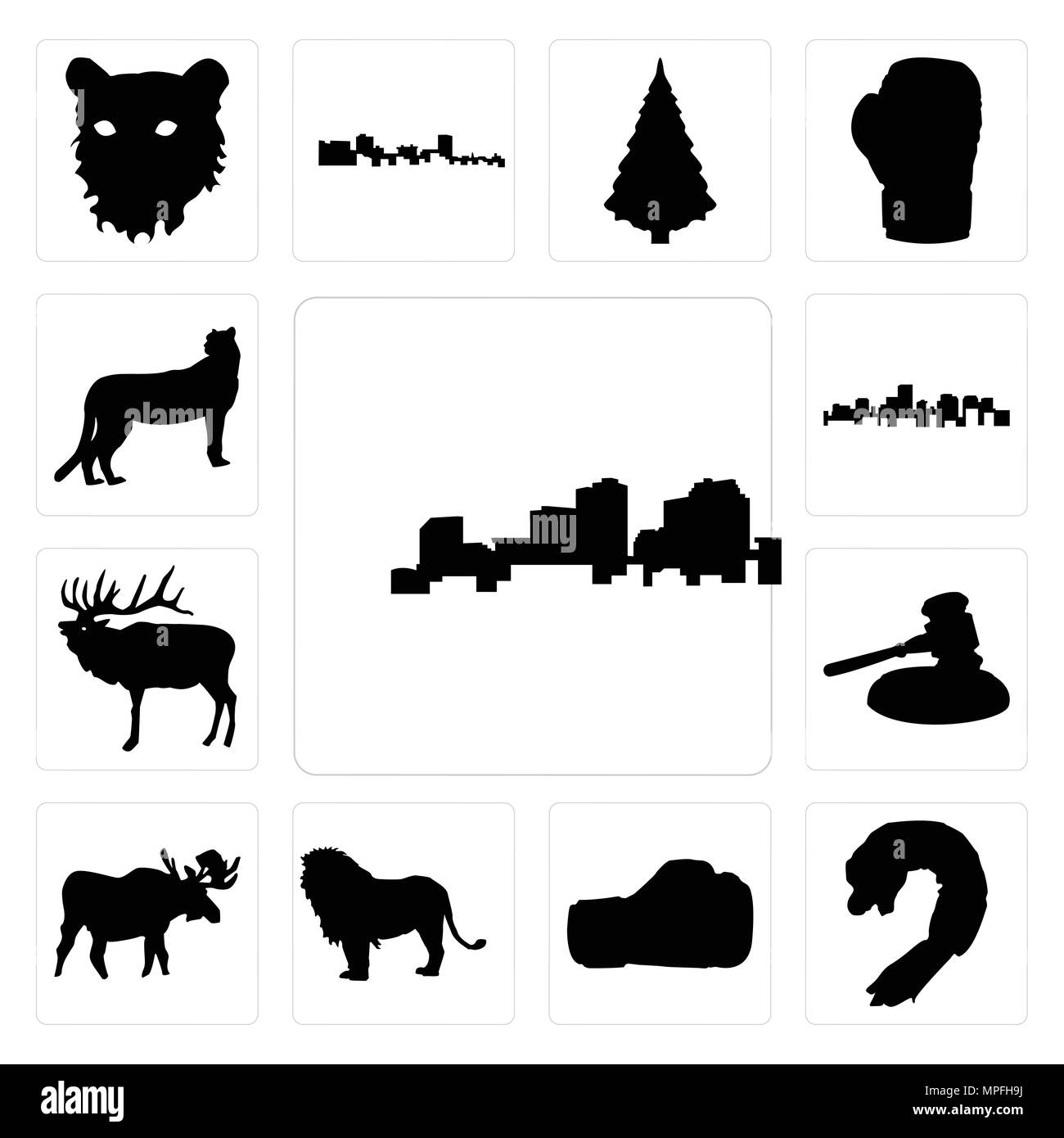 782ddf1d52ffd Set Of 13 simple editable icons such as louisiana outline on white  background