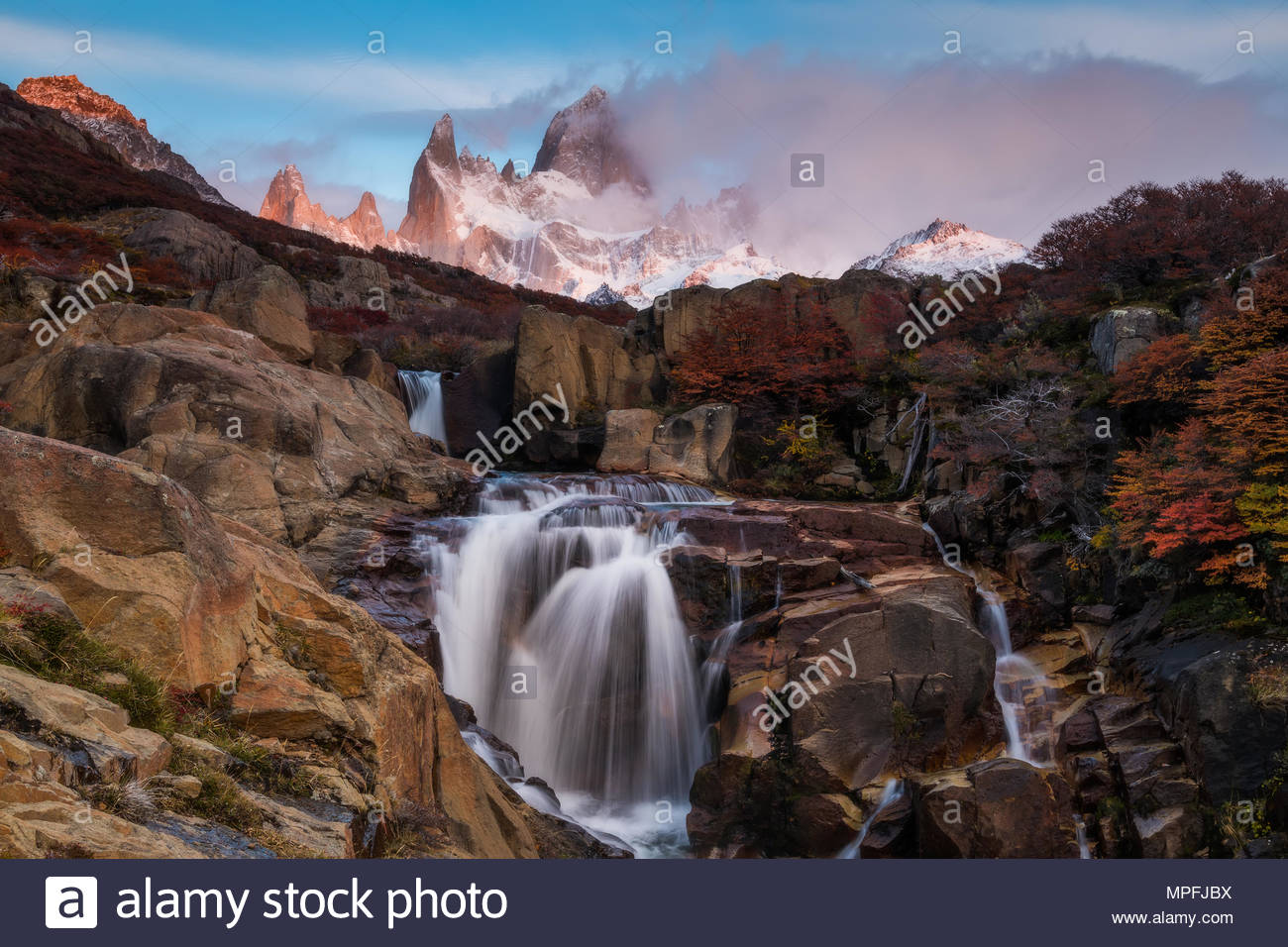 Beautiful view with waterfall and Fitz Roy mountain. Patagonia, Argentina. - Stock Image