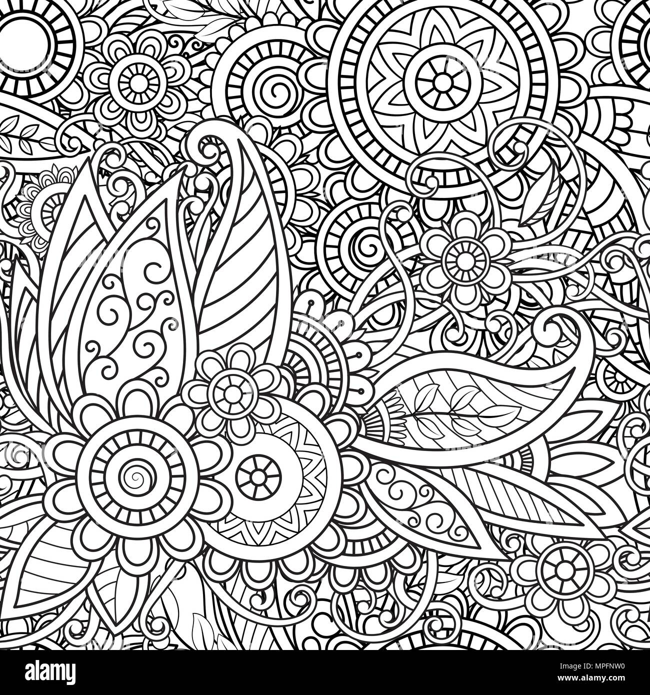 Ethnic Seamless Pattern With Mandalas Flowers And Leaves Doodles