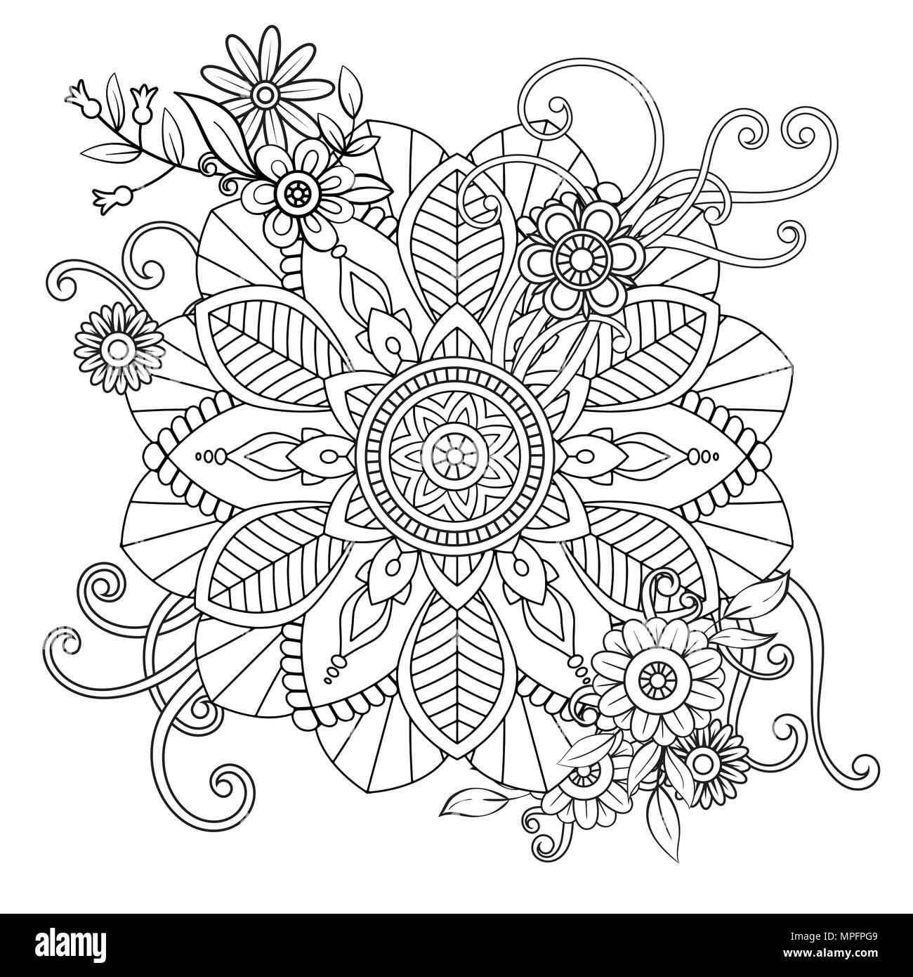Floral Mandala Pattern In Black And White Adult Coloring