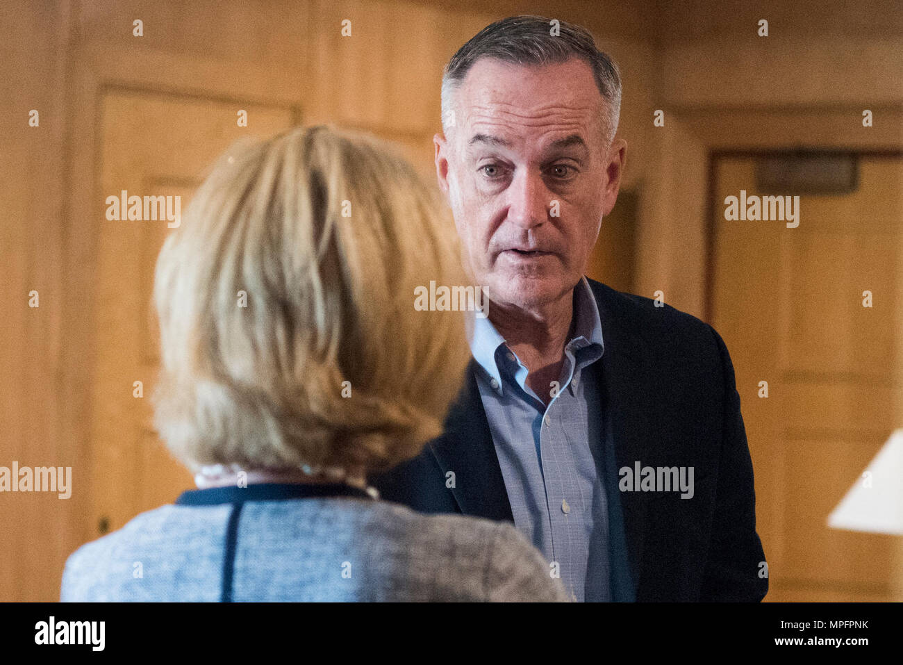 Marine Corps Gen. Joseph Dunford Jr., chairman of the Joint Chiefs of Staff, speaks with Alice G. Wells, U.S. Ambassador to Jordan, after arriving in Amman, Jordan, March 8, 2017. (Dept. of Defense photo by Navy Petty Officer 2nd Class Dominique A. Pineiro/Released) - Stock Image