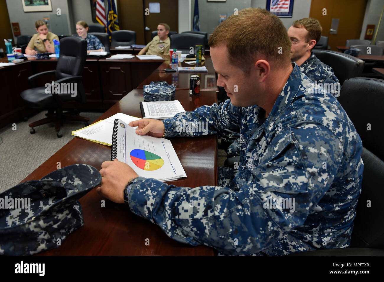 170309-N-FI568-037  PENSACOLA, Fla. (March 9, 2017) Cryptologic Technician (Interpretive)(CTI) 1st Class William Cruz reviews statistics during a biennial occupational standards review for the CTI rating. The occupational standards review process breaks down core tasks, job descriptions, and skills and abilities for each rating. It serves as the basis for all Navy professional development and training tools, such as rate training manuals, personal qualification standards, course curricula and advancement exams.(U.S. Navy photo by Mass Communication Specialist 2nd Class Taylor L. Jackson/Releas - Stock Image