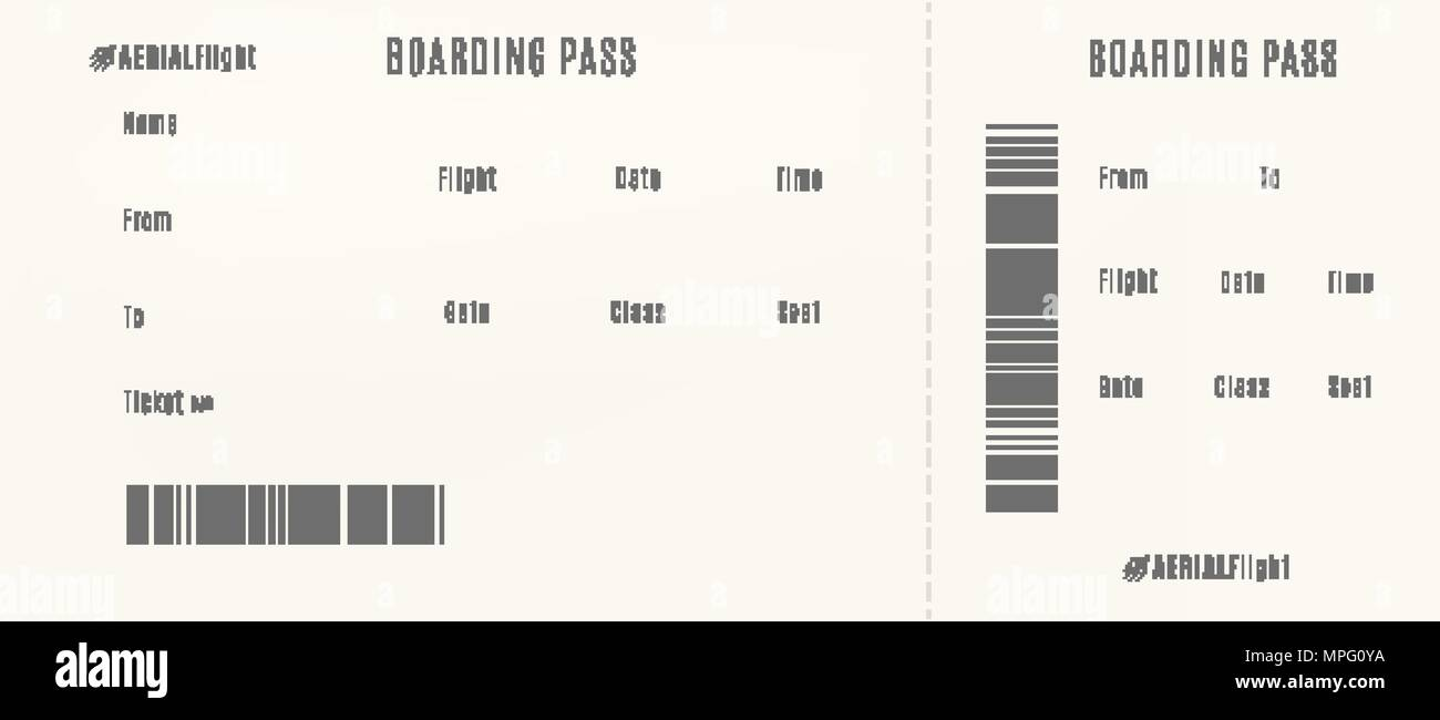 Plane Boarding Pass Template Empty Airplane Ticket Stock Vector Art