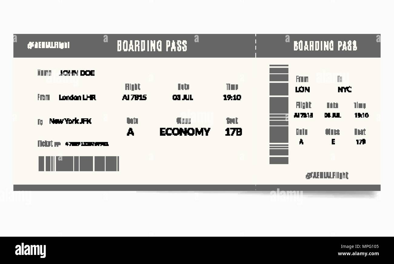 Airplane Ticket Template With Passenger Name And Destination Route