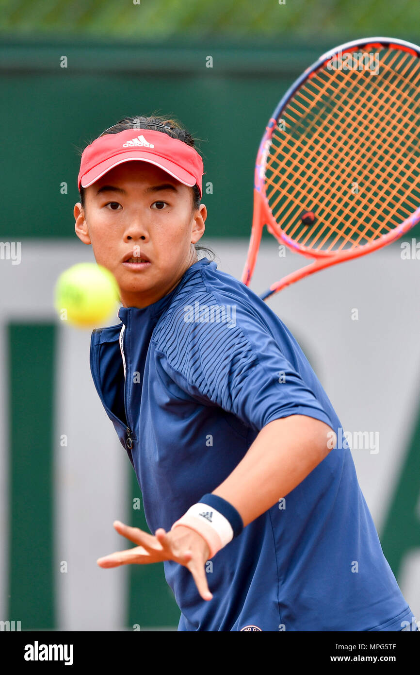 Paris, France. 23rd May, 2018. Liu Fangzhou of China returns the ball to Destanee Aiava of Australia during the women's singles Qualification 1st round match of French Open in Paris, France on May 23, 2018. Liu won 2-1. Credit: Chen Yichen/Xinhua/Alamy Live News Stock Photo