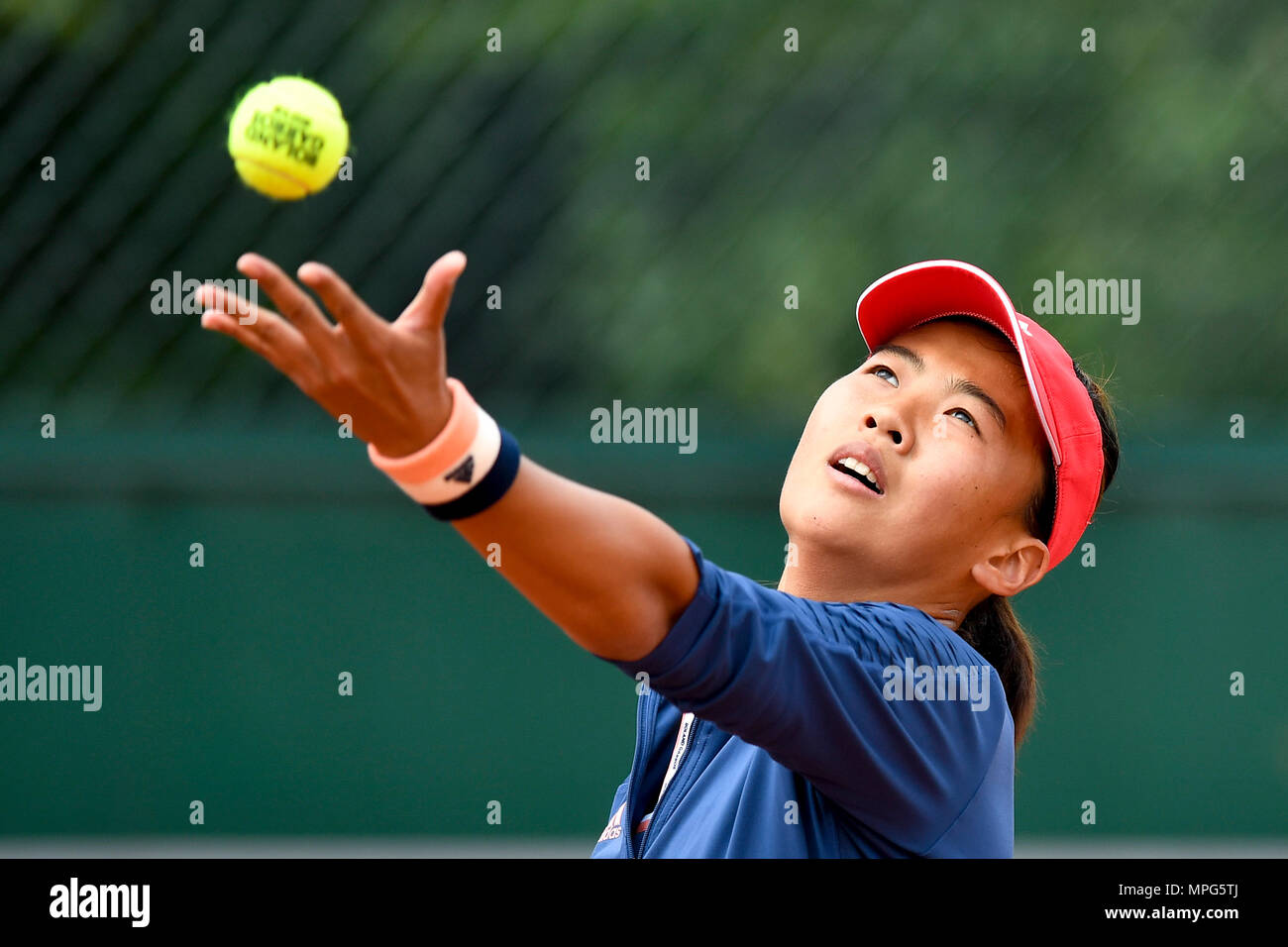 Paris, France. 23rd May, 2018. Liu Fangzhou of China serves to Destanee Aiava of Australia during the women's singles Qualification 1st round match of French Open in Paris, France on May 23, 2018. Liu won 2-1. Credit: Chen Yichen/Xinhua/Alamy Live News Stock Photo