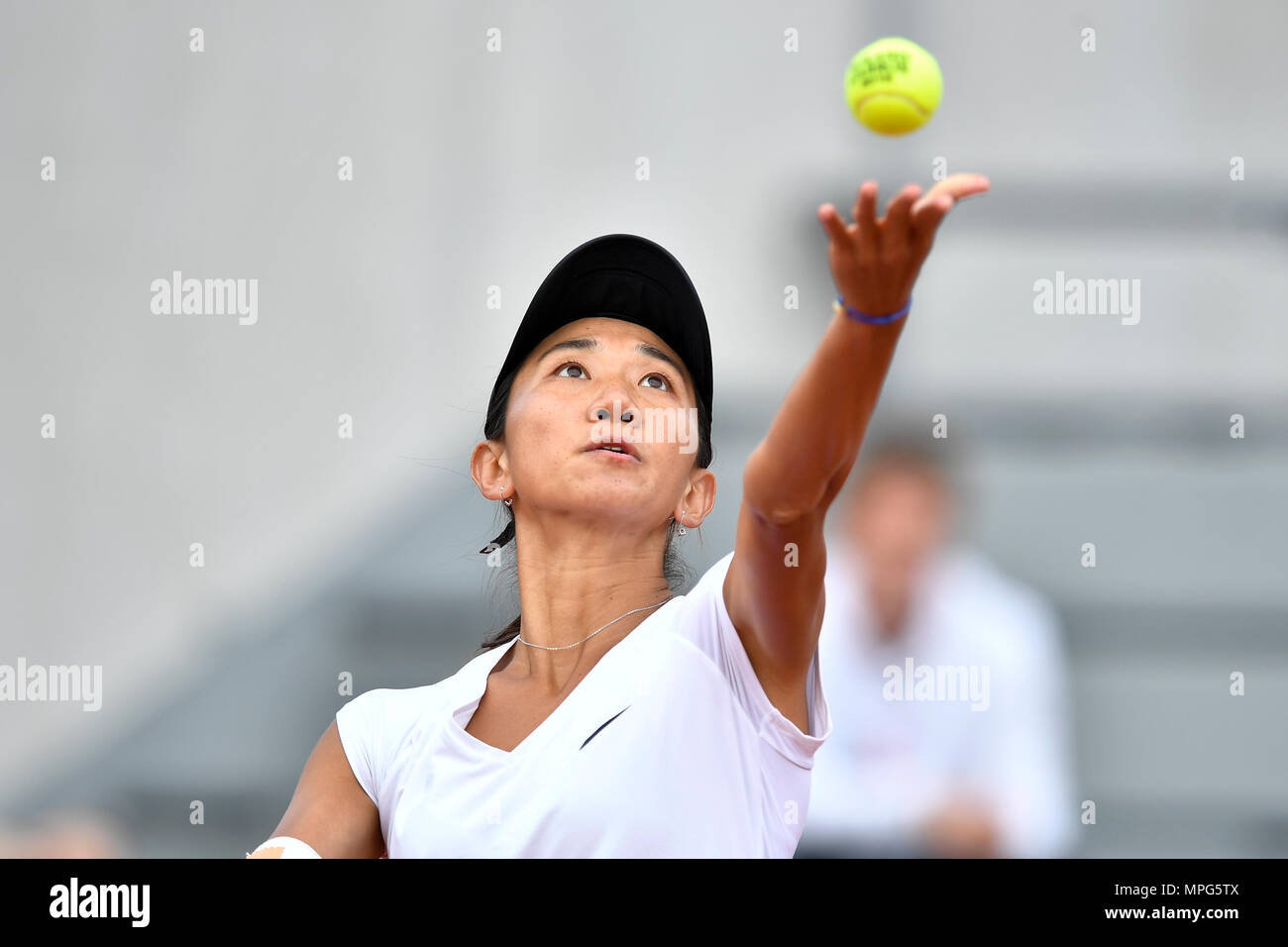 Paris, France. 23rd May, 2018. Lu Jiajing of China serves to Margot Yerolymos of France during the women's singles Qualification 1st round match of French Open in Paris, France on May 23, 2018. Lu lost 0-2. Credit: Chen Yichen/Xinhua/Alamy Live News Stock Photo