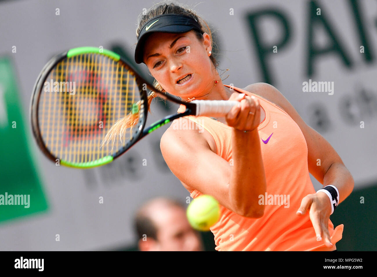 Paris, France. 23rd May, 2018. Margot Yerolymos of France returns the ball to Lu Jiajing of China during the women's singles Qualification 1st round match of French Open in Paris, France on May 23, 2018. Margot Yerolymos won 2-0. Credit: Chen Yichen/Xinhua/Alamy Live News Stock Photo