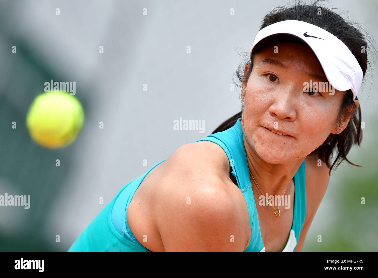 Paris. 23rd May, 2018. Lu Jingjing of China eyes on the ball during the women's singles Qualification 1st round match of French Open against Gabriella Taylor of Britain in Paris, France on May 23, 2018. Lu lost 0-2. Credit: Chen Yichen/Xinhua/Alamy Live News Stock Photo