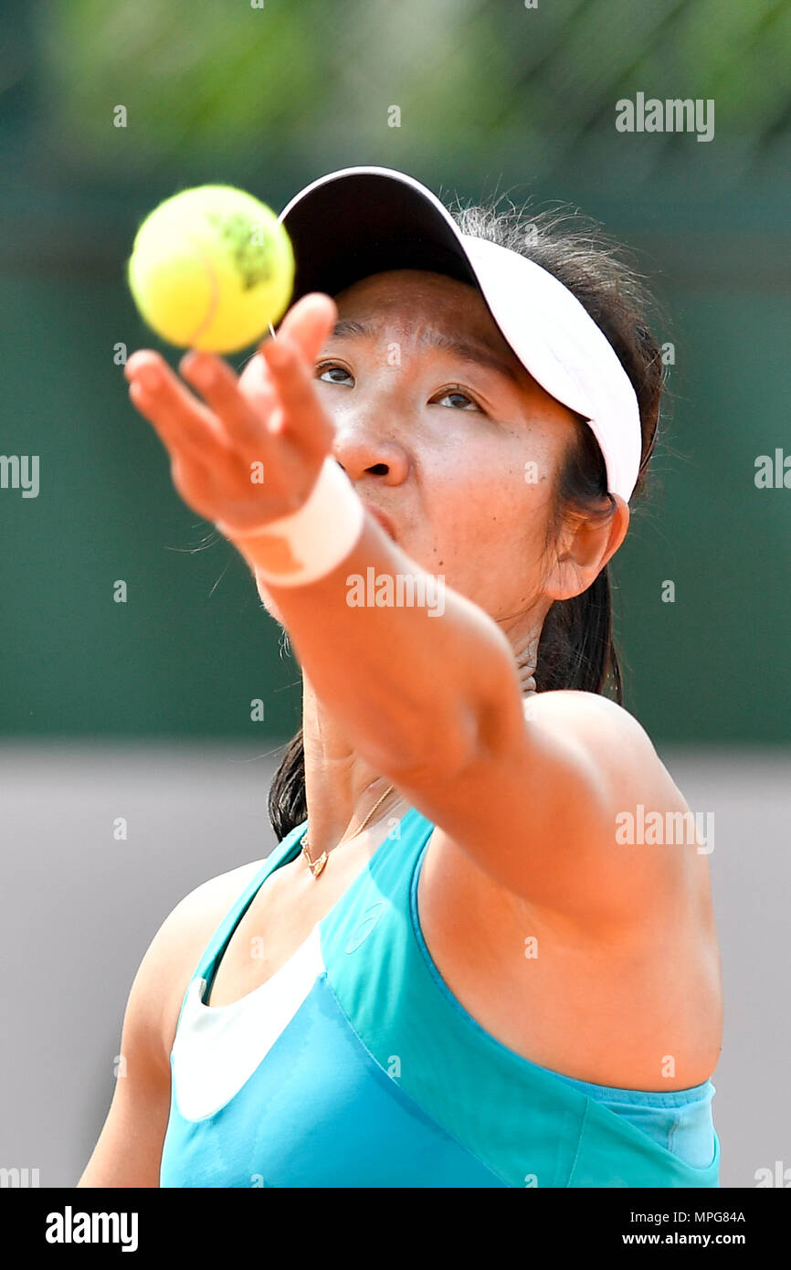 Paris. 23rd May, 2018. Lu Jingjing of China serves to Gabriella Taylor of Britain during the women's singles Qualification 1st round match of French Open in Paris, France on May 23, 2018. Lu lost 0-2. Credit: Chen Yichen/Xinhua/Alamy Live News Stock Photo