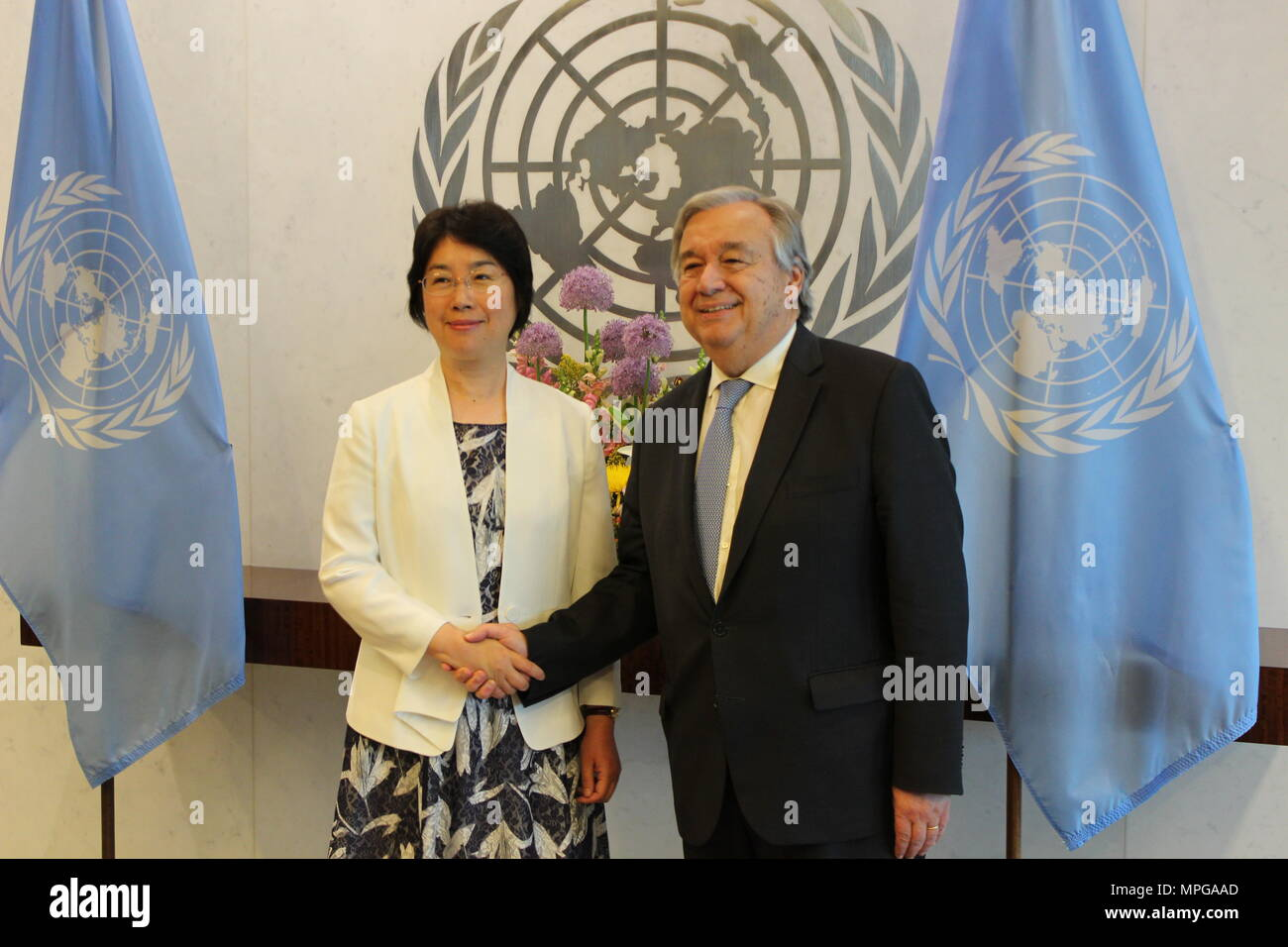 UN, New York, USA. 23rd May, 2018. UN Sec-Gen Antonio Guterres met Zou Jiayi, China's Commissioner of the National Supervisory Commission. Photo: Matthew Russell Lee / Inner City Press Credit: Matthew Russell Lee/Alamy Live NewsStock Photo