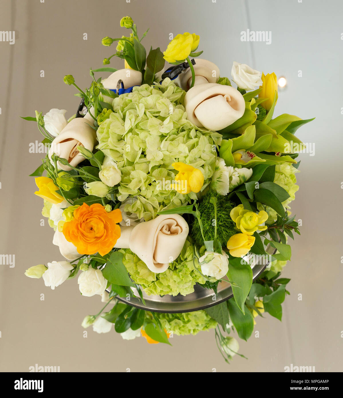 New York Ny May 23 2018 Dog Theme Flower Bouquet On Display At