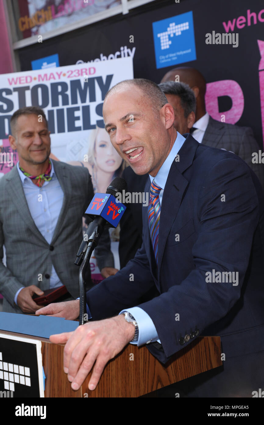 "West Hollywood, California, USA. 23rd May, 2018. Michael Avenatti, attorney for Stormy Daniels, speaks at event where Stormy Daniels is being honored with a ""Stormy Daniels Day"" Proclamation and a Key to the City of West Hollywood, California at Chi Chi LaRue's in West Hollywood, California.  Credit: Sheri Determan/Alamy Live News Stock Photo"