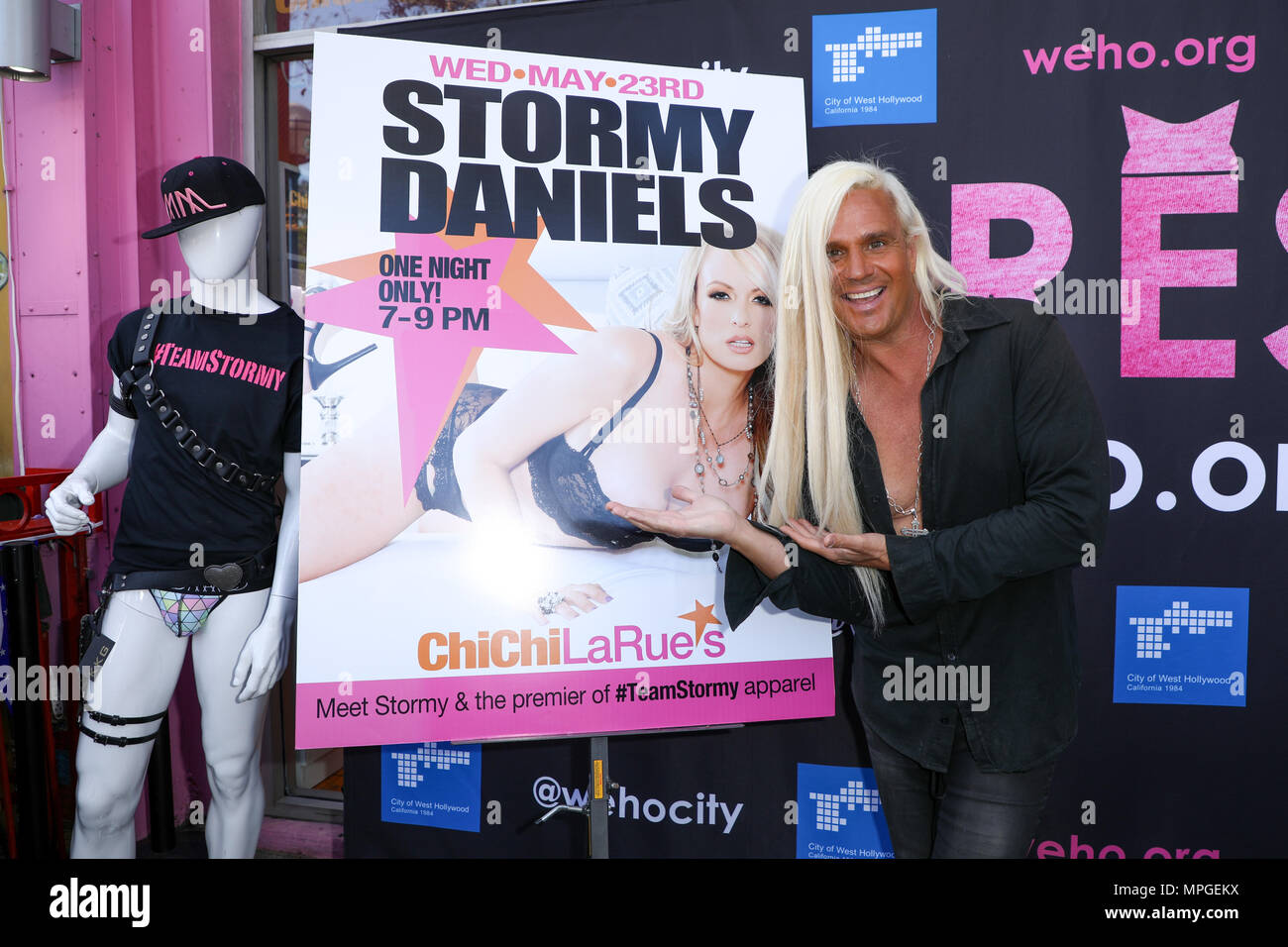 """West Hollywood, California, USA. 23rd May, 2018. Actor Daneil DiCrispio attends event where Stormy Daniels is being honored with a """"Stormy Daniels Day"""" Proclamation and a Key to the City of West Hollywood, California at Chi Chi LaRue's in West Hollywood, California.  Credit: Sheri Determan/Alamy Live News Stock Photo"""