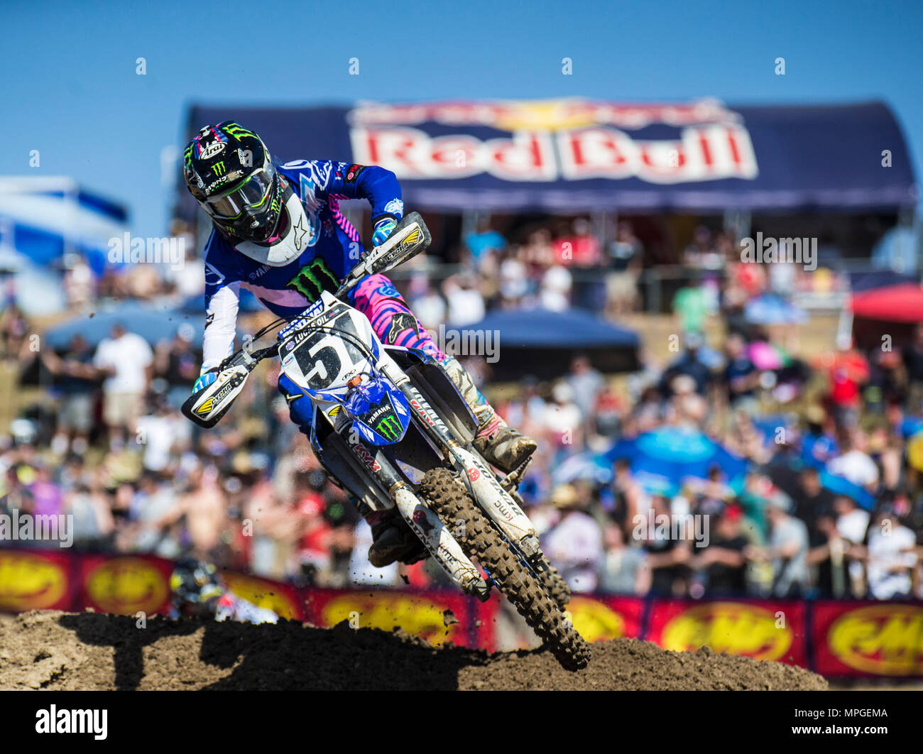 Rancho Cordova, CA. 19th May, 2018. # 51 Justin Barcia earned his first podium finish since 2016 in third place during the Lucas Oil Pro Motocross Championship 450cc class championship at Hangtown Motocross Classic Rancho Cordova, CA Thurman James/CSM/Alamy Live News - Stock Image