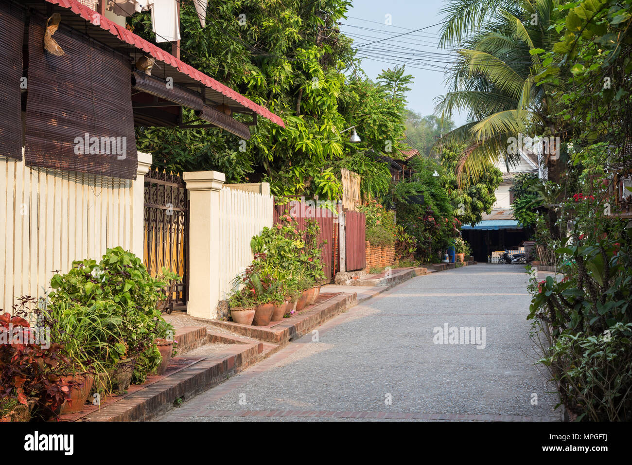 Idyllic side street in Luang Prabang, Laos, on a sunny day. Stock Photo