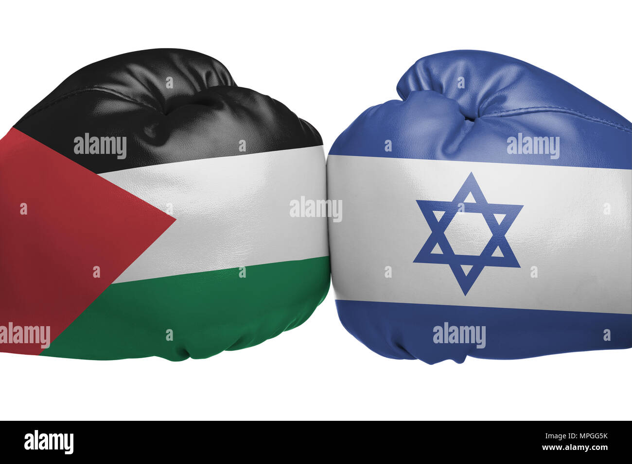 Close up of boxing gloves with Israel and State of Palestine flag symbols isolated on white background - Stock Image