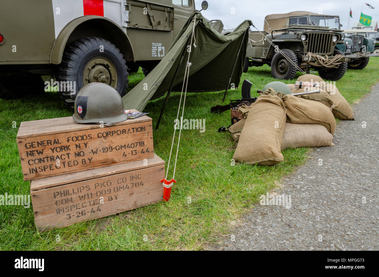 Anglesey, UK: Feb 20, 2018: Military themed display at the Anglesey Vintage  Rally