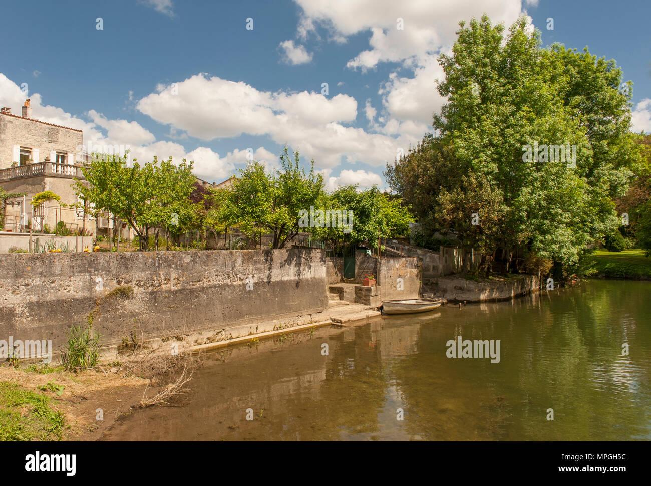 waterfront villa at Saint-Simon, France - Stock Image