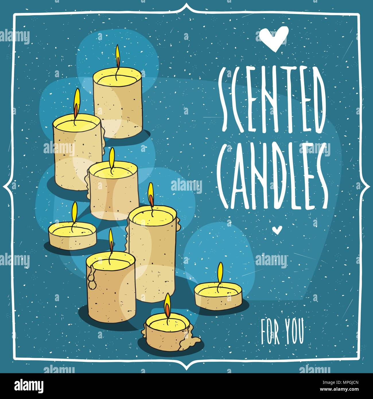 Composition with yellow burning candles. Isolated blue background. Cartoon hand draw style. Lettering inscription Scented Candles For You - Stock Vector