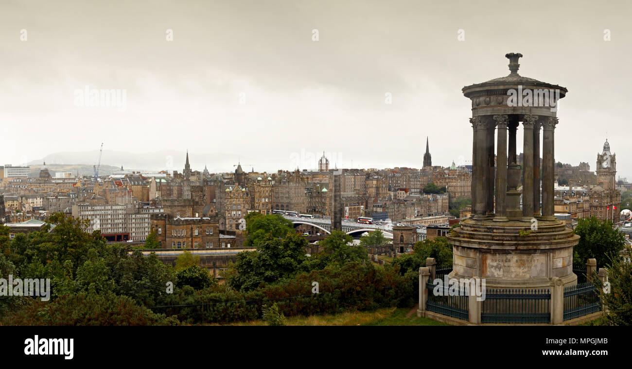 View of the castle from Calton Hill in Edinburg - Stock Image