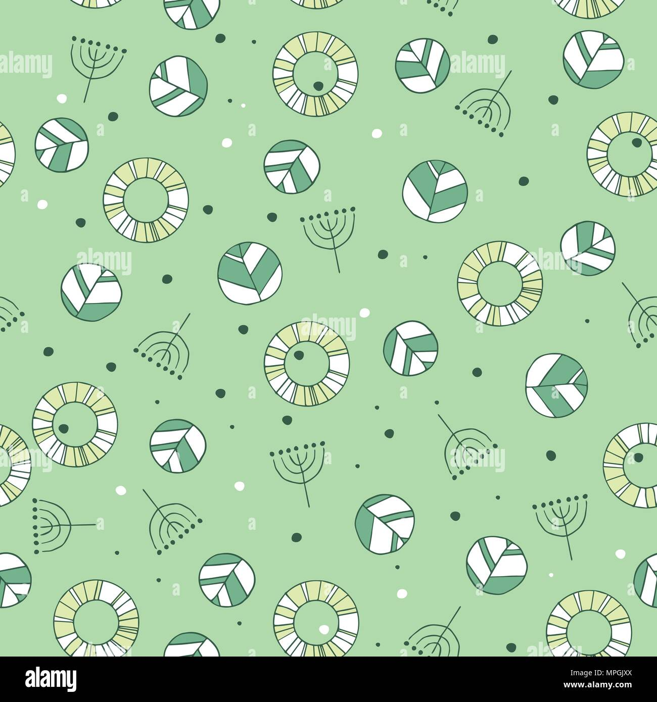 Seamless nature pattern with cute leaves in green color. Modern foliage background with twigs in chaotic manner. Flat hand draw style - Stock Vector