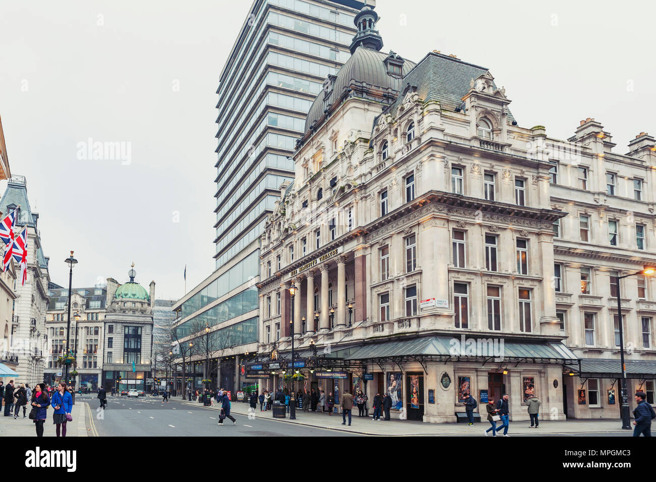 Her Majesty's Theatre, a West End theatre situated on Haymarket in the City of Westminster and venue for the production of Phantom of the Opera - Stock Image