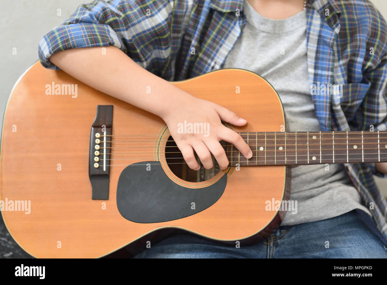 Men Use Guitar Handles To Play Guitar Chords Stock Photo 185995137