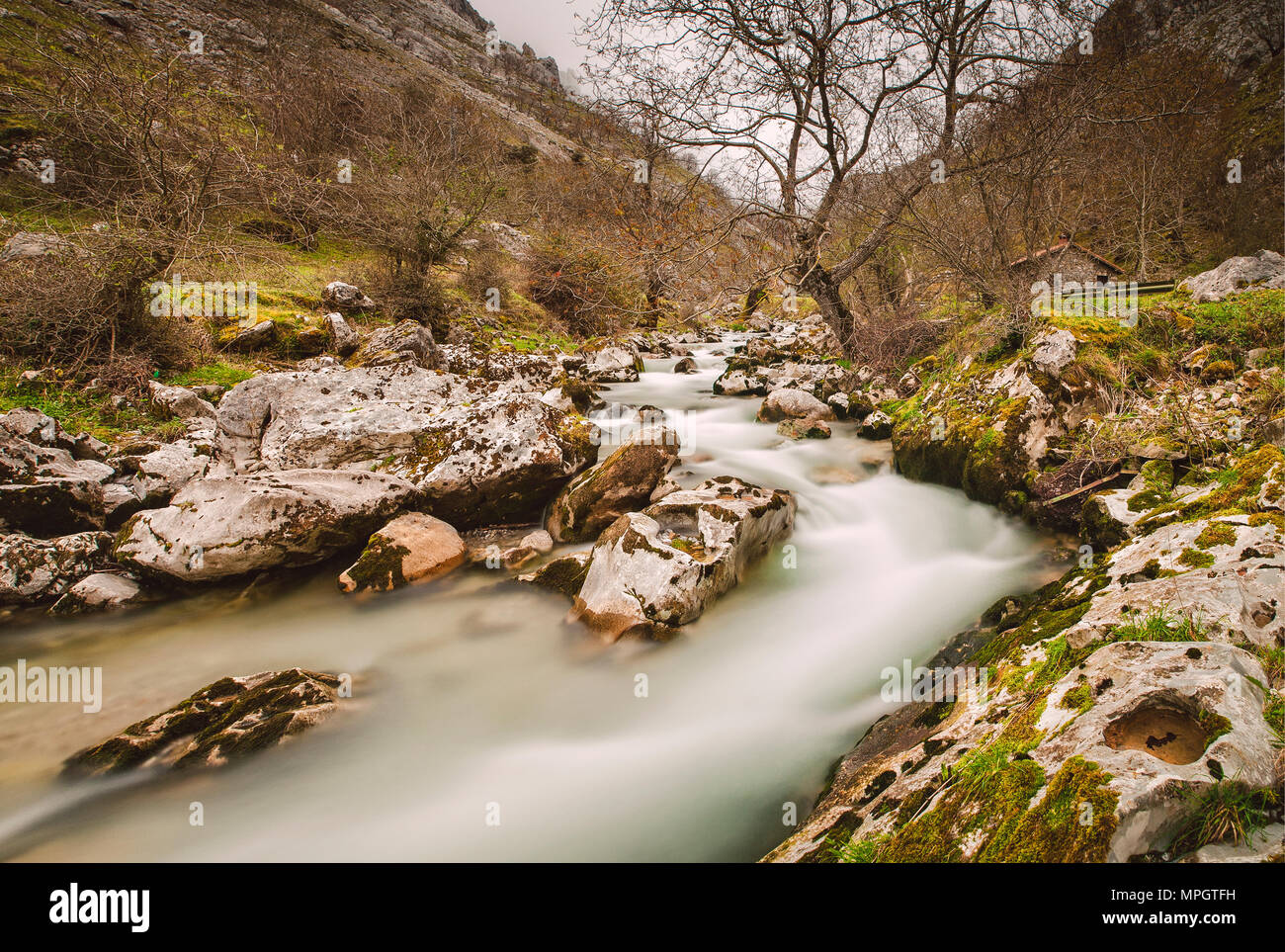 Cares river in Asturias, Spain. A beautiful spanish landscape. - Stock Image