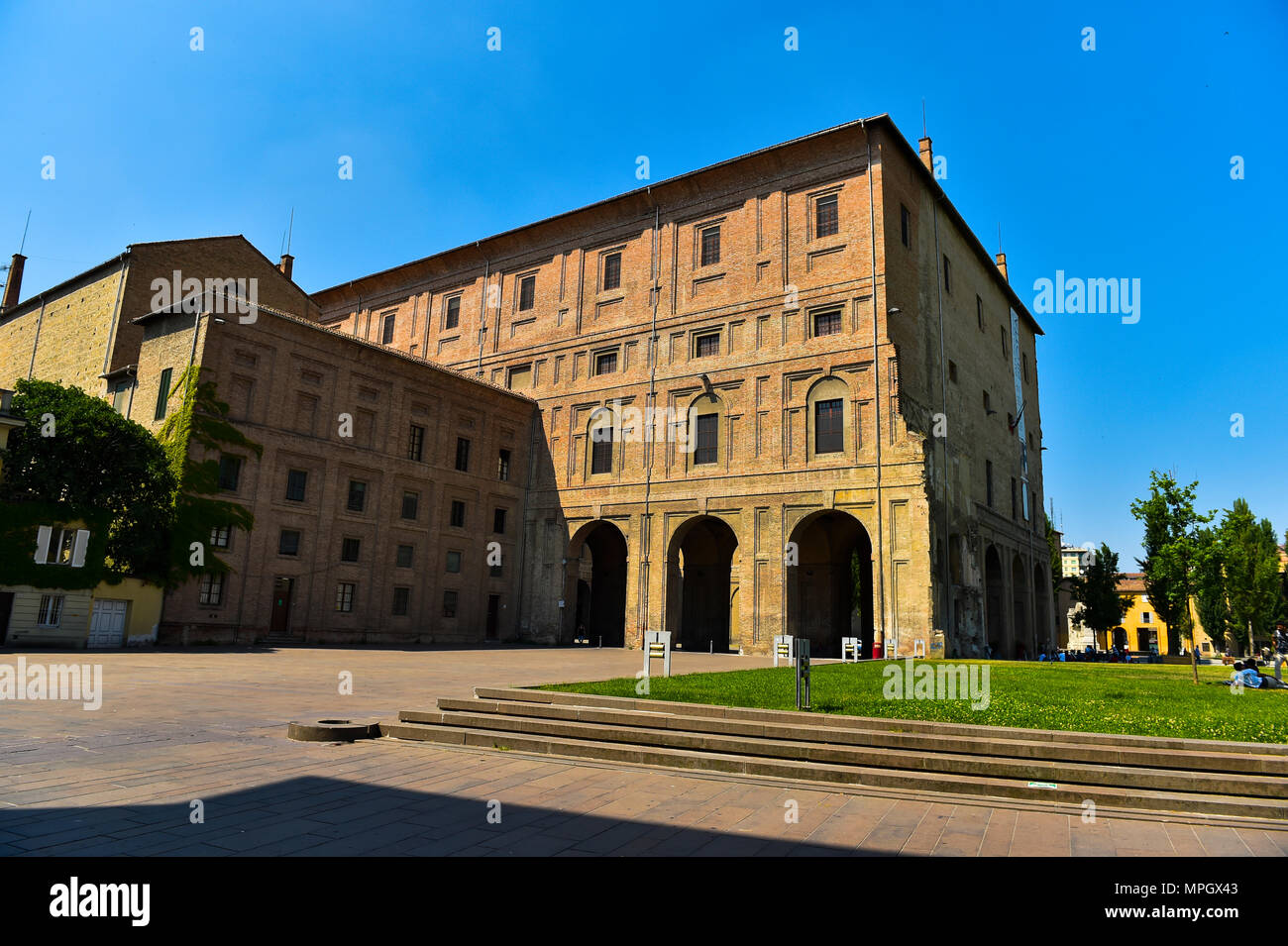 Images in the old town of Parma in Italy - Stock Image