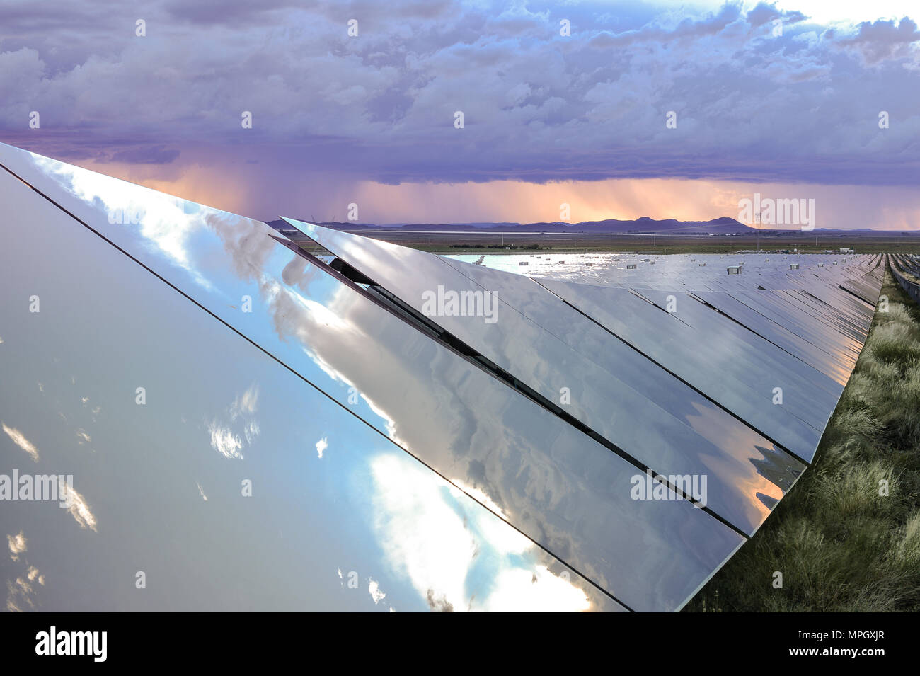 DE AAR, SOUTH AFRICA - Wednesday 16 March 2016, the largest solar farm in the Southern Hemisphere by Solar Capital outside De Aar. - Stock Image