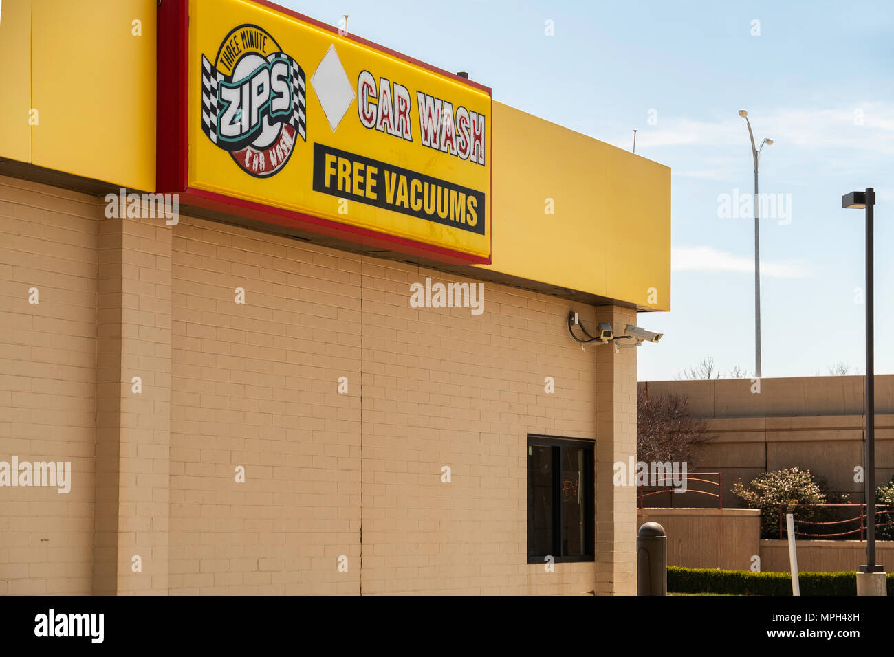 The Exterior Building Of A Zips Car Wash Business In Wichita Kansas