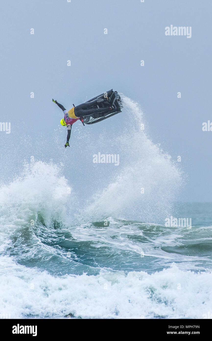 The Freeride World Jetski Championship at Fistral Beach in Newquay, Cornwall. - Stock Image