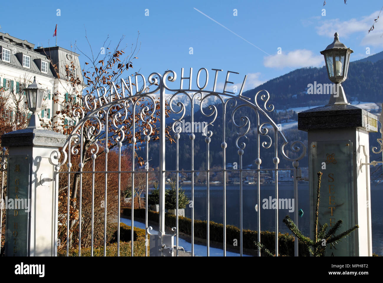 The wrought iron entrance gate of the Grand Hotel in Zell am See, Austria. Stock Photo