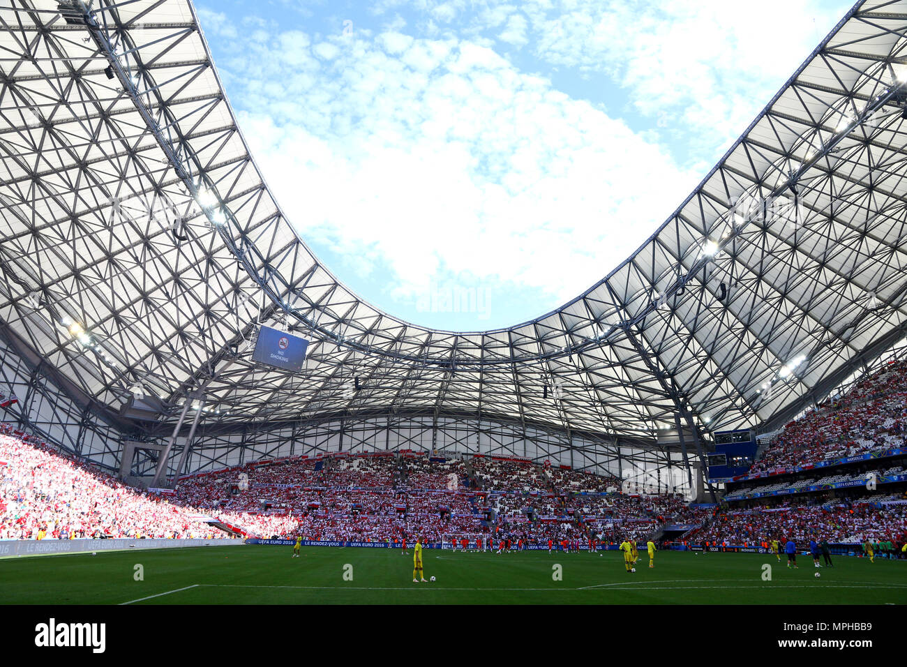 MARSEILLE, FRANCE - JUNE 21, 2016: Panoramic view of Stade Velodrome stadium during the UEFA EURO 2016 game Ukraine v Poland - Stock Image
