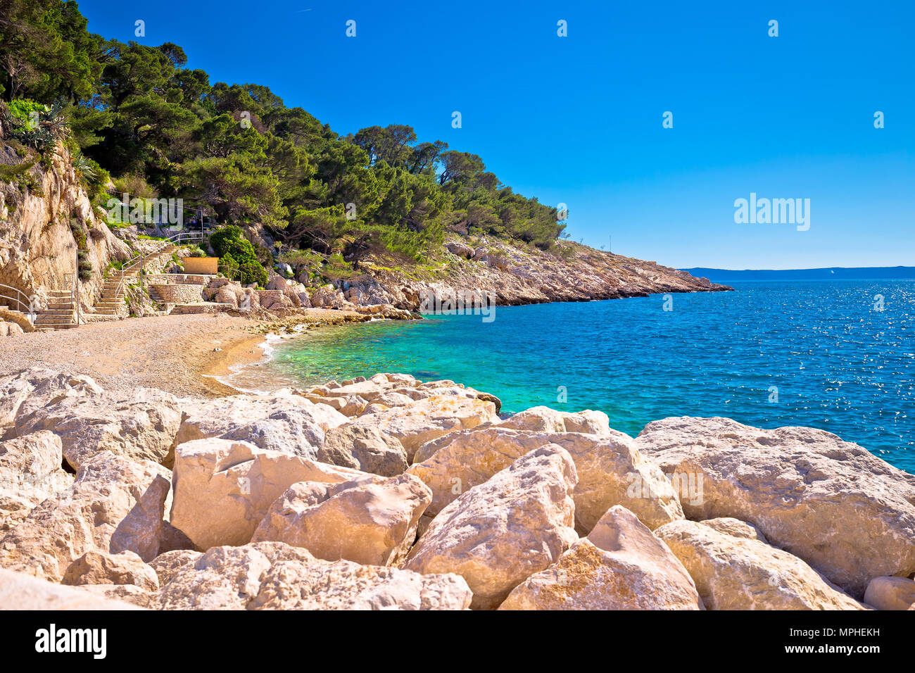 Makarska turquoise beach at sunny day view, Dalmatia region of Croatia Stock Photo