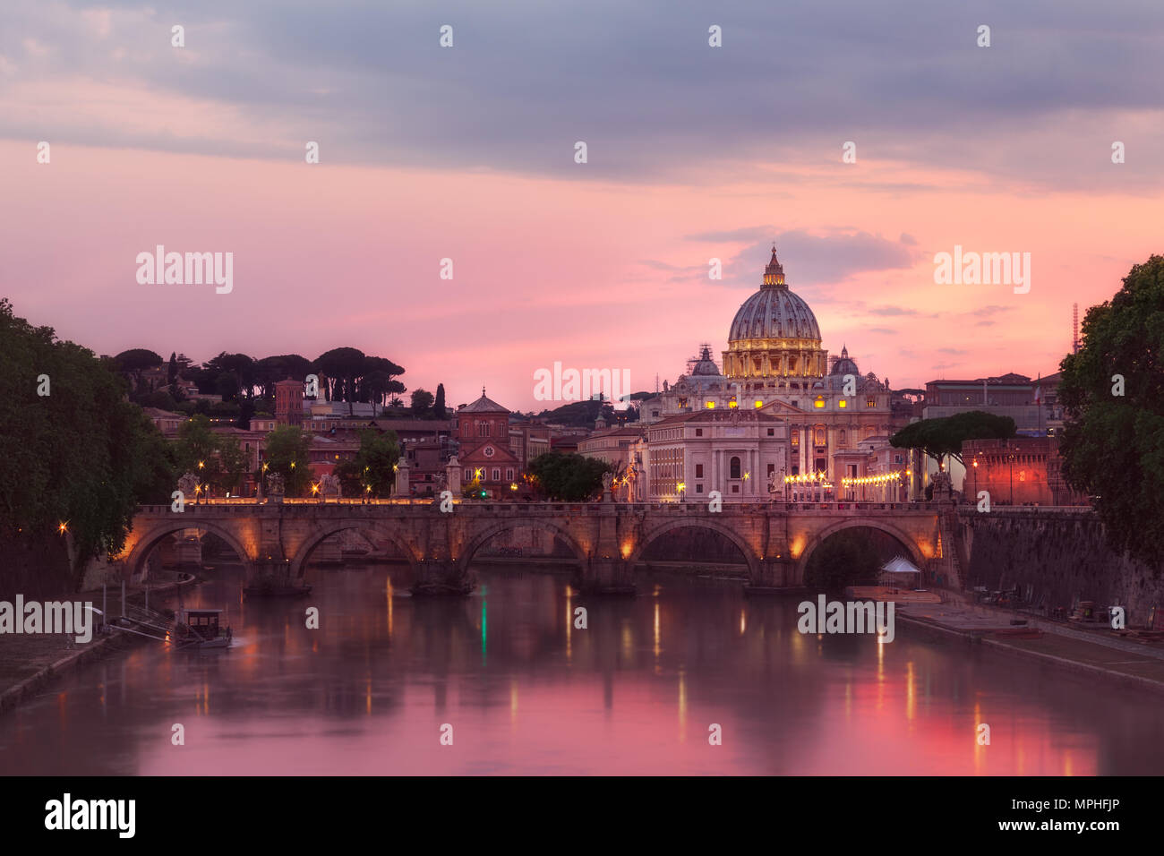 Having the city of Rome nearly to myself is incredible. The rain only trickled lightly but life retreated into the alleyways of the city, leaving myse - Stock Image