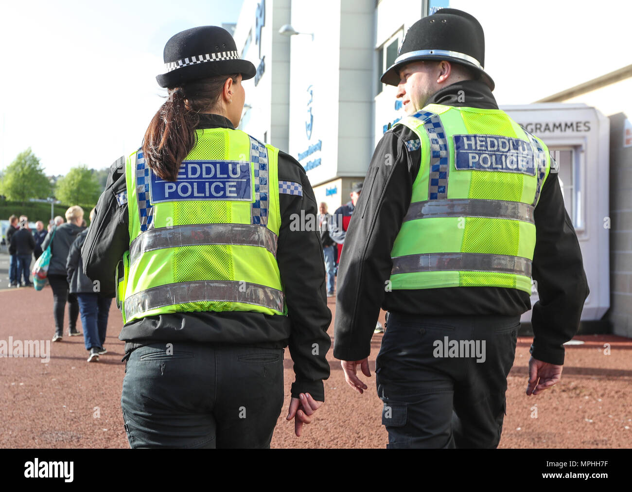 South Wales Police Force police officers on duty at a football match in Swansea ,Wales - Stock Image