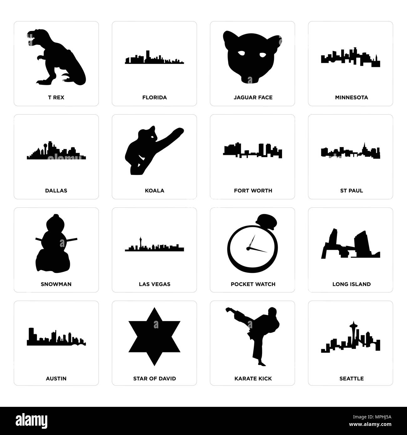 Set Of 16 simple editable icons such as seattle, karate kick, star of david, austin, long island, t rex, dallas, snowman, fort worth can be used for m - Stock Image