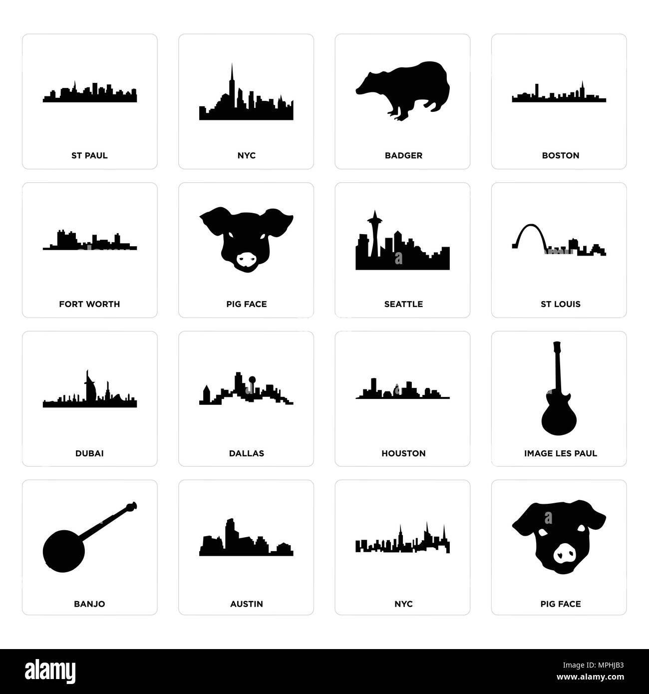 Set Of 16 simple editable icons such as pig face, nyc, austin, banjo, image les paul, st fort worth, dubai, seattle can be used for mobile, web UI - Stock Image