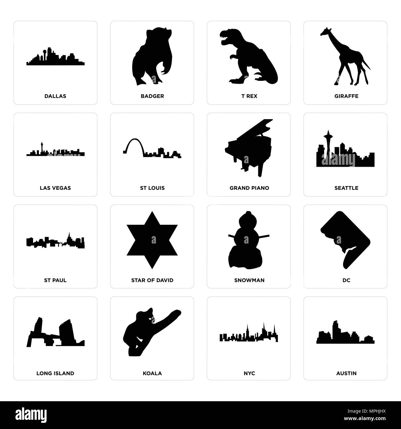 Set Of 16 simple editable icons such as austin, nyc, koala, long island, dc, dallas, las vegas, st paul, grand piano can be used for mobile, web UI Stock Vector
