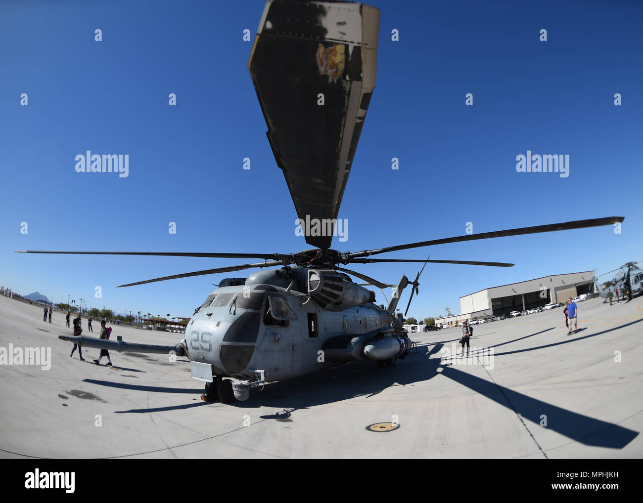A U.S. Marine Corps CH-53E Super Stallion sits on the flightline at Naval Air Facility El Centro, California, March 11, 2017, during the 2017 NAF El Centro Airshow.  The CH-53 is the heaviest and largest helicopter used in the U.S. military, capable of carrying 16 tons of cargo or enough Marines for combat or humanitarian missions. (U.S. Air Force photo by Airman 1st Class Kirby Turbak/Released) Stock Photo